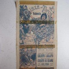 Carteles Toros: CARTEL TOROS - VALENCIA - AGOSTO DE 1908. Lote 28335995