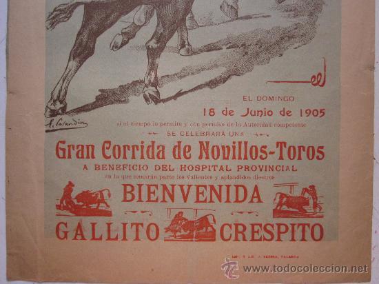 Carteles Toros: CARTEL TOROS - VALENCIA - JUNIO DE 1905 - Foto 4 - 28327735