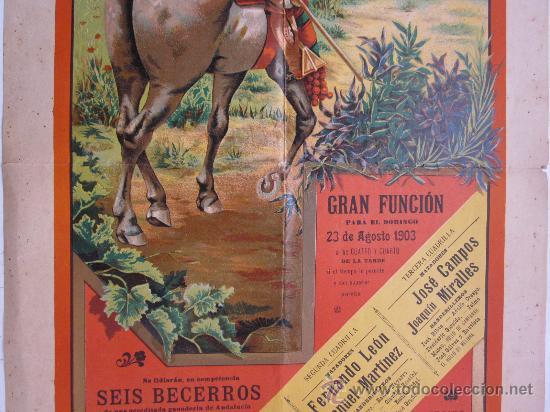 Carteles Toros: CARTEL TOROS - VALENCIA - AGOSTO DE 1903 - LITOGRAFIA - Foto 3 - 28328426