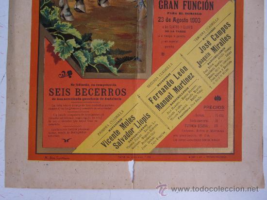 Carteles Toros: CARTEL TOROS - VALENCIA - AGOSTO DE 1903 - LITOGRAFIA - Foto 4 - 28328426