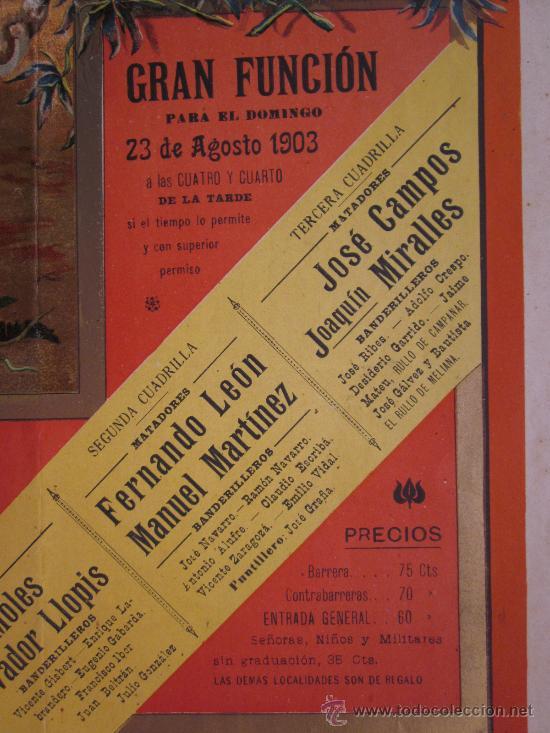 Carteles Toros: CARTEL TOROS - VALENCIA - AGOSTO DE 1903 - LITOGRAFIA - Foto 5 - 28328426