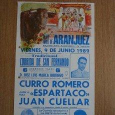 Carteles Toros: CARTEL DE TOROS DE ARANJUEZ. 1989.. Lote 28514105