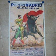 Cartazes Touros: CARTEL TOROS - MADRID - FERIA DE SAN ISIDRO 1992 - LITOGRAFIA - ILUSTR: LOPEZ CANITO. Lote 28742230