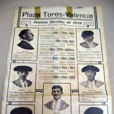 Carteles Toros: CARTEL, TAUROMAQUIA, PLAZA DE TOROS DE VALENCIA, CORRIDAS DE FERIA, 1922, S. MEJIAS, MAERA, CHICUELO. Lote 29034456