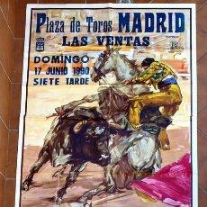 Carteles Toros: CARTEL NOVILLADA CON PICADORES - PLAZA DE TOROS MADRID - LAS VENTAS - 17 DE JUNIO 1990 -. Lote 28999202