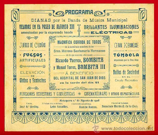 Carteles Toros: CARTEL TOROS PLAZA DE ANTEQUERA , 1908 ,MALAGA ,MODERNISTA ,CROMO LITOGRAFIA ,ORIGINAL - Foto 2 - 29390093