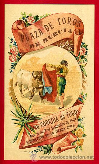 CARTEL TOROS PLAZA DE MURCIA , 1907 ,MODERNISTA ,CROMO LITOGRAFIA ,ORIGINAL (Coleccionismo - Carteles Gran Formato - Carteles Toros)