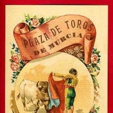 Carteles Toros: CARTEL TOROS PLAZA DE MURCIA , 1907 ,MODERNISTA ,CROMO LITOGRAFIA ,ORIGINAL. Lote 29389529
