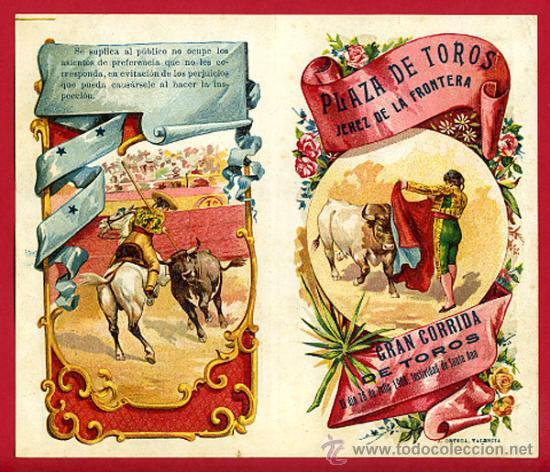CARTEL TOROS PLAZA JEREZ DE LA FRONTERA , 1908 ,CADIZ ,MODERNISTA ,CROMO LITOGRAFIA ,ORIGINAL (Coleccionismo - Carteles Gran Formato - Carteles Toros)