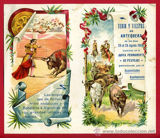 CARTEL TOROS PLAZA DE ANTEQUERA , 1908 ,MALAGA ,MODERNISTA ,CROMO LITOGRAFIA ,ORIGINAL (Coleccionismo - Carteles Gran Formato - Carteles Toros)