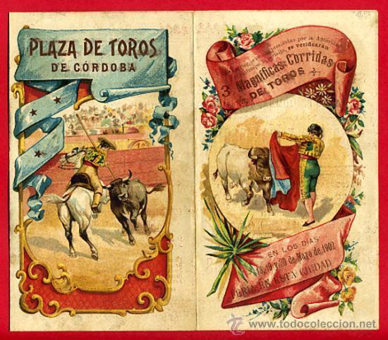 CARTEL TOROS PLAZA DE CORDOBA , 1902 , MODERNISTA ,CROMO LITOGRAFIA ,ORIGINAL (Coleccionismo - Carteles Gran Formato - Carteles Toros)