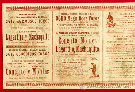 Carteles Toros: CARTEL TOROS PLAZA DE CORDOBA , 1902 , MODERNISTA ,CROMO LITOGRAFIA ,ORIGINAL - Foto 3 - 29390333
