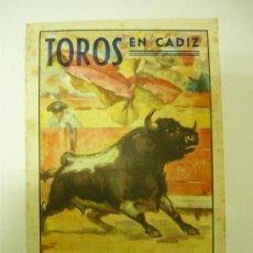 Carteles Toros: TOROS EN CADIZ 31 MAYO 1945 CARTEL DE MANO TIPO CUADERNILLO. Lote 29689803