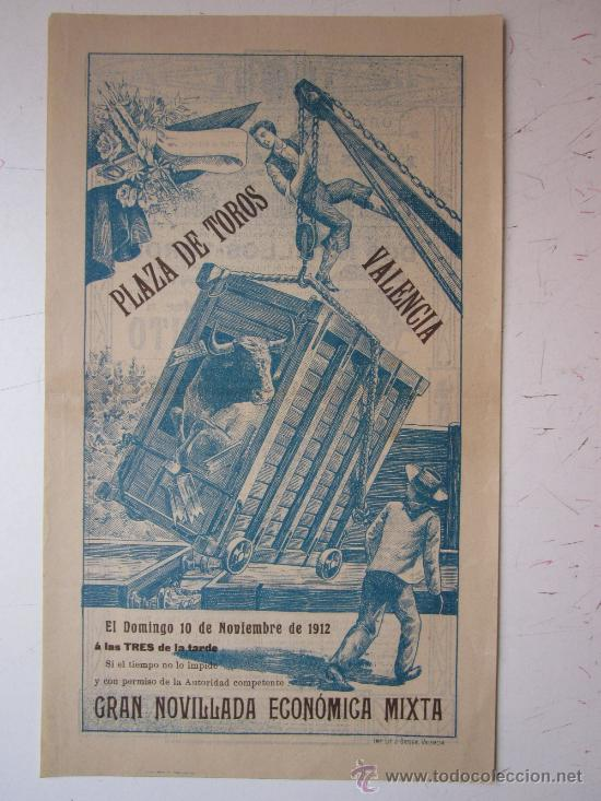 CARTEL TOROS VALENCIA - AÑO 1912 - IMP. LIT. ORTEGA (Coleccionismo - Carteles Gran Formato - Carteles Toros)