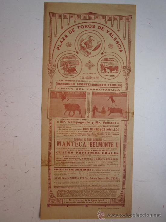 CARTEL TOROS VALENCIA - AÑO 1913 - IMP. LIT. ORTEGA (Coleccionismo - Carteles Gran Formato - Carteles Toros)