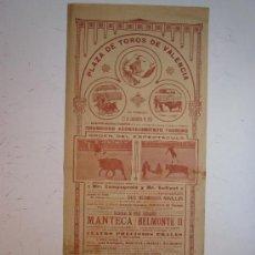Carteles Toros: CARTEL TOROS VALENCIA - AÑO 1913 - IMP. LIT. ORTEGA. Lote 29885708