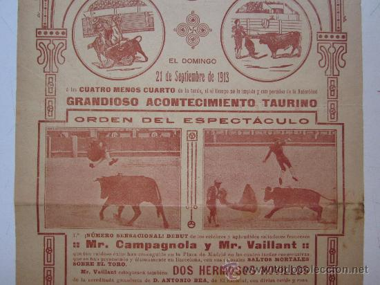 Carteles Toros: CARTEL TOROS VALENCIA - AÑO 1913 - IMP. LIT. ORTEGA - Foto 3 - 29885708