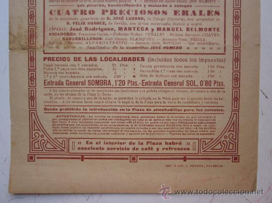 Carteles Toros: CARTEL TOROS VALENCIA - AÑO 1913 - IMP. LIT. ORTEGA - Foto 6 - 29885708