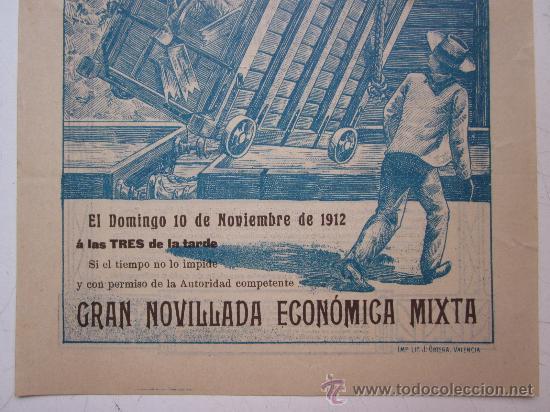 Carteles Toros: CARTEL TOROS VALENCIA - AÑO 1912 - IMP. LIT. ORTEGA - Foto 4 - 29883630