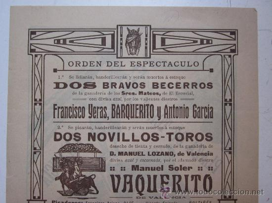 Carteles Toros: CARTEL TOROS VALENCIA - AÑO 1912 - IMP. LIT. ORTEGA - Foto 6 - 29883630