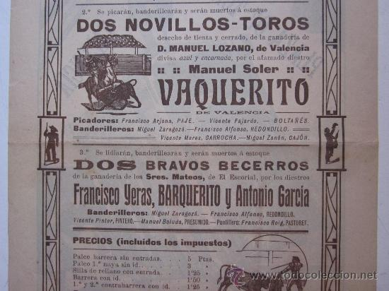 Carteles Toros: CARTEL TOROS VALENCIA - AÑO 1912 - IMP. LIT. ORTEGA - Foto 7 - 29883630