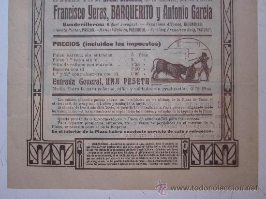 Carteles Toros: CARTEL TOROS VALENCIA - AÑO 1912 - IMP. LIT. ORTEGA - Foto 8 - 29883630