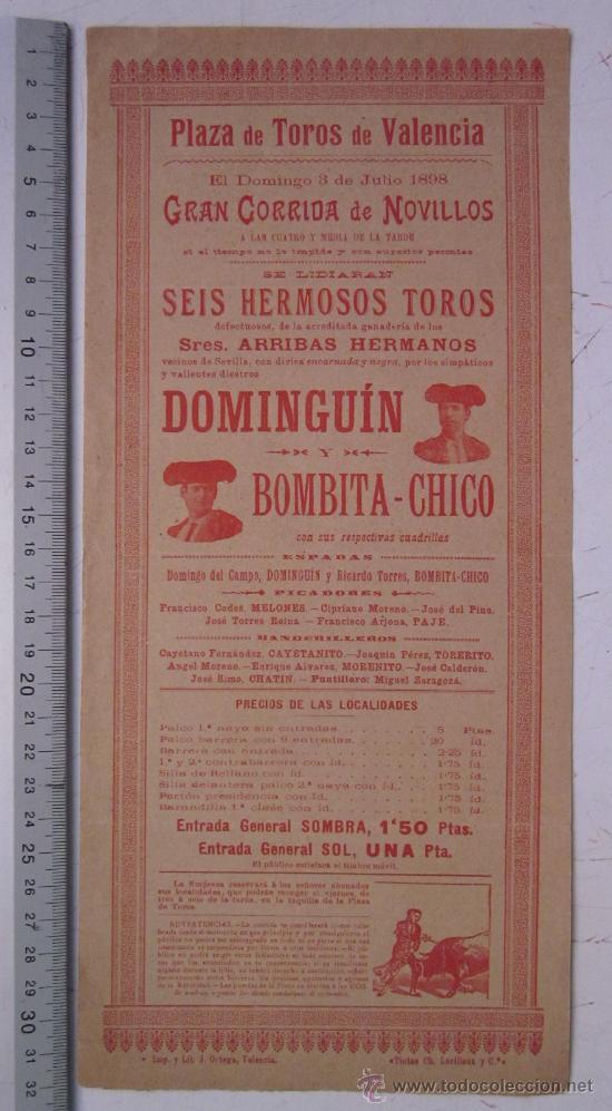 CARTEL TOROS VALENCIA - AÑO 1898 - IMP. LIT. ORTEGA (Coleccionismo - Carteles Gran Formato - Carteles Toros)