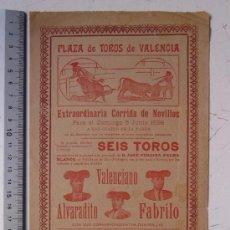 Carteles Toros: CARTEL TOROS VALENCIA - AÑO 1898 - IMP. LIT. ORTEGA. Lote 29896400