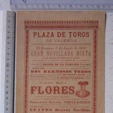 Carteles Toros: CARTEL TOROS VALENCIA - AÑO 1900 - IMP. LIT. ORTEGA. Lote 29900107