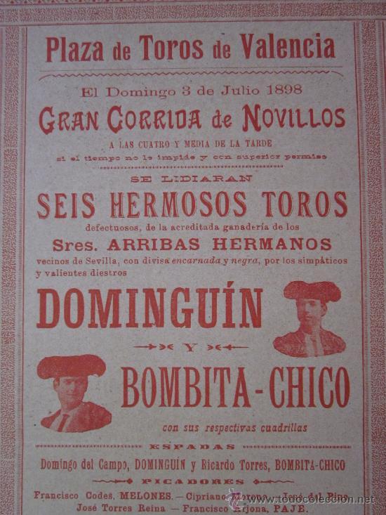 Carteles Toros: CARTEL TOROS VALENCIA - AÑO 1898 - IMP. LIT. ORTEGA - Foto 2 - 29896378
