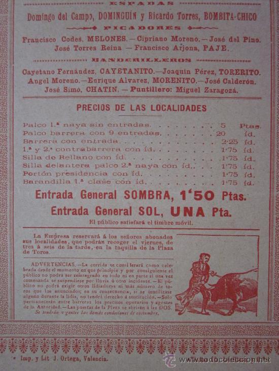 Carteles Toros: CARTEL TOROS VALENCIA - AÑO 1898 - IMP. LIT. ORTEGA - Foto 4 - 29896378