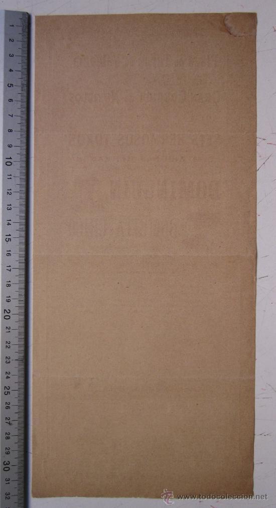 Carteles Toros: CARTEL TOROS VALENCIA - AÑO 1898 - IMP. LIT. ORTEGA - Foto 5 - 29896378