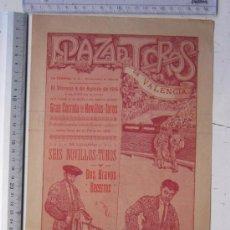 Carteles Toros: CARTEL TOROS VALENCIA - AGOSTO DE 1916 - IMP. LIT. ORTEGA, VALENCIA - RUANO LLOPIS. Lote 29911716