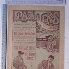 Carteles Toros: CARTEL TOROS VALENCIA - AGOSTO DE 1916 - IMP. LIT. ORTEGA, VALENCIA - RUANO LLOPIS. Lote 29911725
