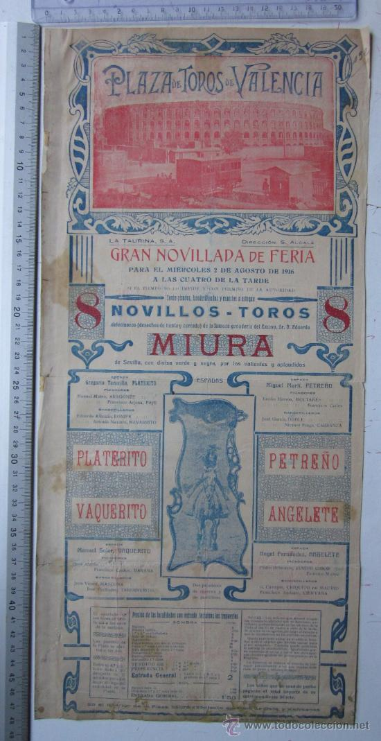 CARTEL TOROS VALENCIA - AGOSTO DE 1916 - ARTES GRAFICAS, VALENCIA (Coleccionismo - Carteles Gran Formato - Carteles Toros)