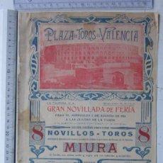 Carteles Toros: CARTEL TOROS VALENCIA - AGOSTO DE 1916 - ARTES GRAFICAS, VALENCIA. Lote 29914614
