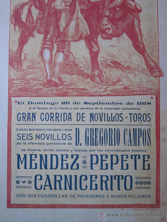 Carteles Toros: CARTEL TOROS VALENCIA - SEPTIEMBRE DE 1918 - IMP. LIT. ORTEGA, VALENCIA - RUANO LLOPIS - Foto 3 - 29914440