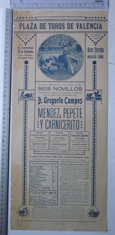 Carteles Toros: CARTEL TOROS VALENCIA - SEPTIEMBRE DE 1918 - IMP. LIT. ORTEGA, VALENCIA - RUANO LLOPIS - Foto 4 - 29914440