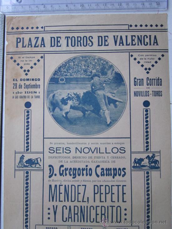 Carteles Toros: CARTEL TOROS VALENCIA - SEPTIEMBRE DE 1918 - IMP. LIT. ORTEGA, VALENCIA - RUANO LLOPIS - Foto 5 - 29914440