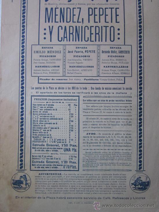 Carteles Toros: CARTEL TOROS VALENCIA - SEPTIEMBRE DE 1918 - IMP. LIT. ORTEGA, VALENCIA - RUANO LLOPIS - Foto 6 - 29914440