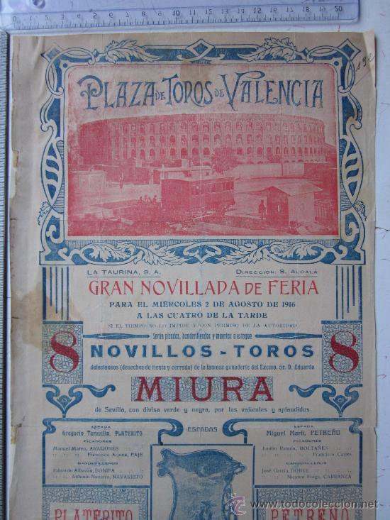 Carteles Toros: CARTEL TOROS VALENCIA - AGOSTO DE 1916 - ARTES GRAFICAS, VALENCIA - Foto 2 - 29914614