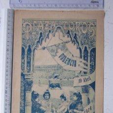Carteles Toros: CARTEL TOROS VALENCIA - 19 DE ABRIL DE 1914 - IMP. LIT. ORTEGA. Lote 29935025