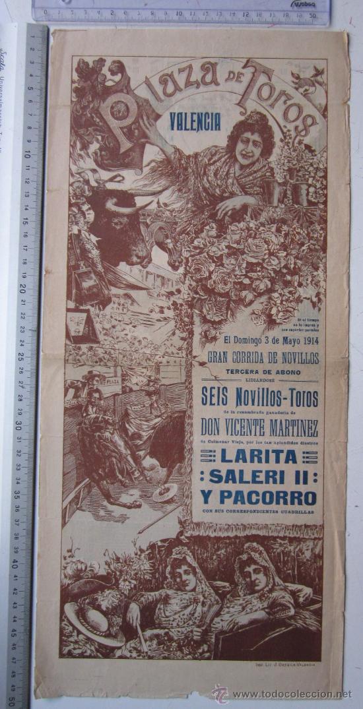 CARTEL TOROS VALENCIA - 3 DE MAYO DE 1914 - IMP. LIT. ORTEGA (Coleccionismo - Carteles Gran Formato - Carteles Toros)