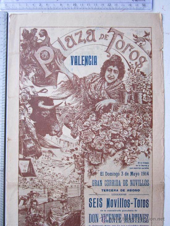 Carteles Toros: CARTEL TOROS VALENCIA - 3 DE MAYO DE 1914 - IMP. LIT. ORTEGA - Foto 2 - 29935063