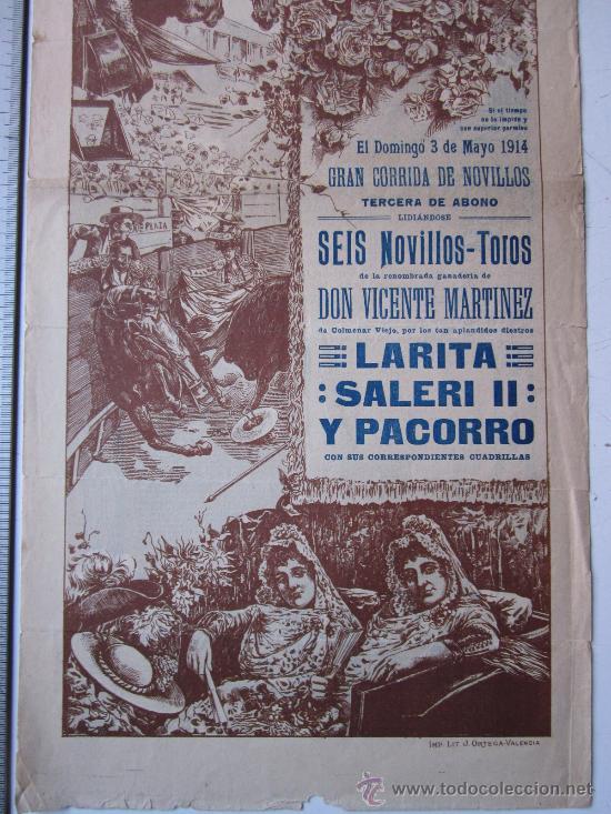 Carteles Toros: CARTEL TOROS VALENCIA - 3 DE MAYO DE 1914 - IMP. LIT. ORTEGA - Foto 3 - 29935063