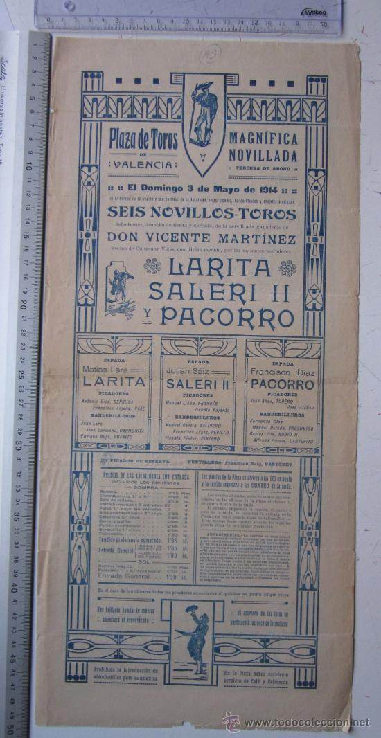 Carteles Toros: CARTEL TOROS VALENCIA - 3 DE MAYO DE 1914 - IMP. LIT. ORTEGA - Foto 4 - 29935063