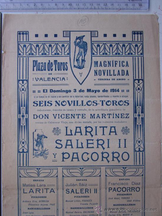 Carteles Toros: CARTEL TOROS VALENCIA - 3 DE MAYO DE 1914 - IMP. LIT. ORTEGA - Foto 5 - 29935063