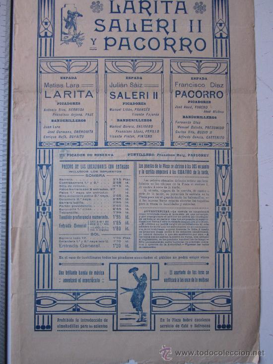 Carteles Toros: CARTEL TOROS VALENCIA - 3 DE MAYO DE 1914 - IMP. LIT. ORTEGA - Foto 6 - 29935063