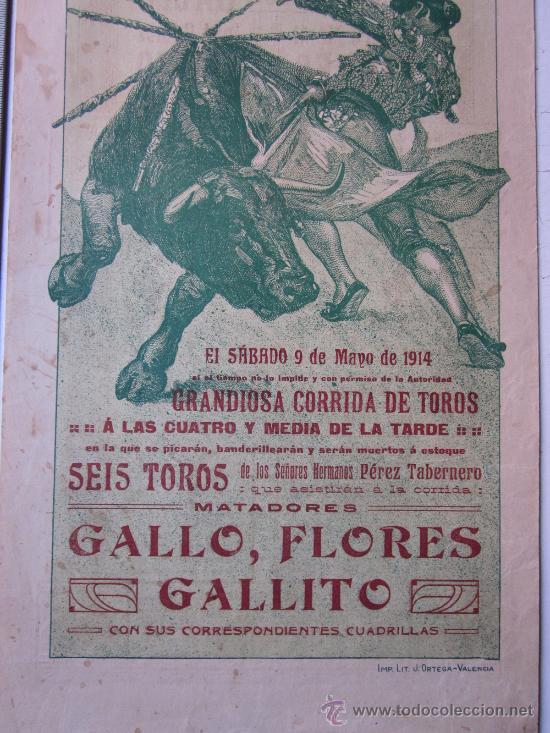 Carteles Toros: CARTEL TOROS VALENCIA - 9 DE MAYO DE 1914 - IMP. LIT. ORTEGA - Foto 3 - 29935103