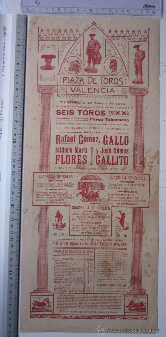 Carteles Toros: CARTEL TOROS VALENCIA - 9 DE MAYO DE 1914 - IMP. LIT. ORTEGA - Foto 4 - 29935103